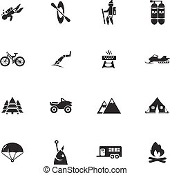 ativo, recreação, jogo, ícones
