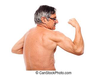Ativo,  Sênior, mostrando,  bíceps