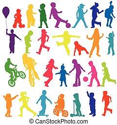Ativo, silhuetas, jogo, colorido, crianças