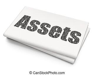 ativos, dinheiro, fundo, em branco, jornal, concept: