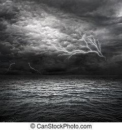 atlántico, tormenta, océano