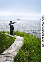 atlântico, filho, pai, newfoundland, costa