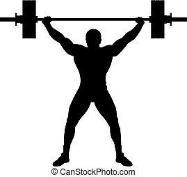 atléta, emelő, súly