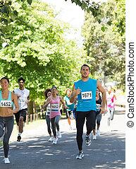 atléta, futás, alatt, maratoni futás