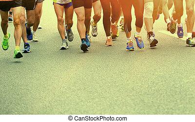 atléta, futás, képben látható, út