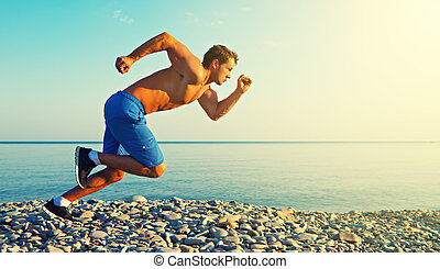 atléta, futás, napnyugta, tenger, szabadban, ember