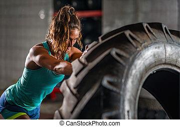 atléta, nő, gyakorlás, autógumi