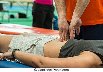 atléta, pihenés, masszázs, közben, állóképesség, elfoglaltság, wellness, és, sport
