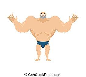 atléta, surprised., döbbent, bodybuilder., agaze, sportsman., állóképesség, pasas