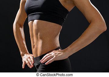 atlético, arriba, abs, hembra, cierre, ropa de deporte