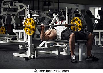atlético, barra con pesas, levantamiento, preparando, hombre...