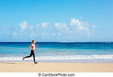 atlético, condición física, mujer que corre, en la playa