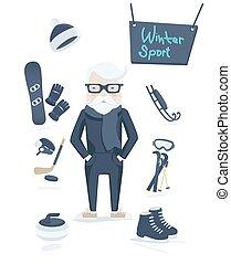 atlético, desporto, antigas, inverno, homem