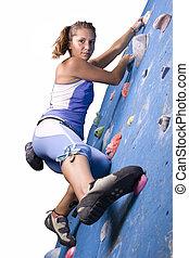 atlético, escalando, menina