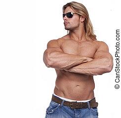 atlético, excitado, corpo masculino, construtor, com, a, loiro, longo, hair., gladiador, óculos sol cansativo