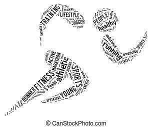 atlético, executando, fundo branco, pictograma