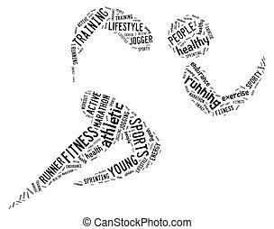 atlético, executando, pictograma, branco, fundo