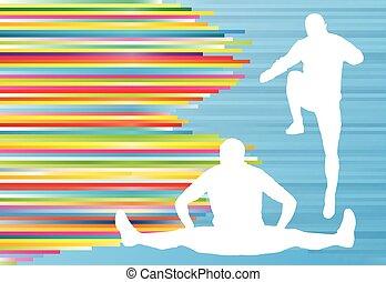 atlético, exercício, homem, esticar, esquente, vetorial, fundo