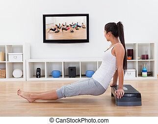 atlético, exercícios, mulher, livingroom, dela
