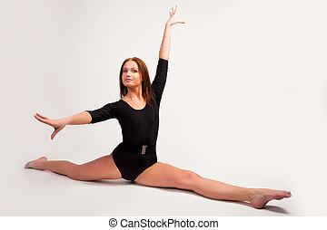 atlético, flexível, mulher
