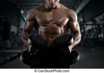 atlético, hombre, entrenamiento, bíceps, en, el, gimnasio