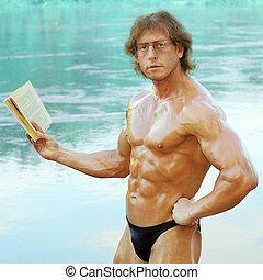 atlético, hombre, entusiasmo, lee