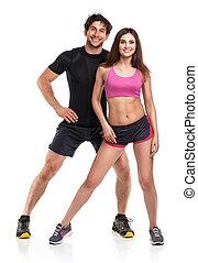 atlético, hombre y mujer, después, ejercicio salud, en, el, backg blanco