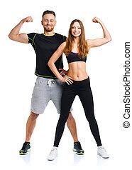 atlético, hombre y mujer, después, ejercicio salud, en, el, blanco