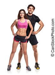 atlético, hombre y mujer, después, ejercicio salud, en, el, blanco, espalda