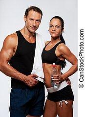 atlético, hombre y mujer, después, ejercicio salud