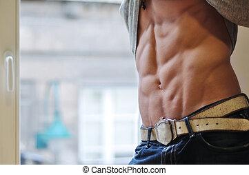 atlético, homem, com, six-pack