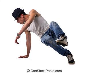 atlético, homem, fazendo, uma fratura, rotina dança