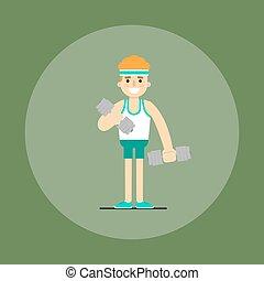atlético, homem jovem, fazendo, exercício