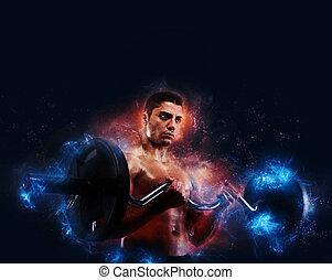 atlético, homem, treinamento, bíceps, com, energia, efeito claro