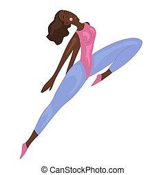atlético, mujer, africano, saltar, love., ilustración, sí mismo, vector, bailando, estilo de vida, figure., deporte, caricatura, tracksuit.