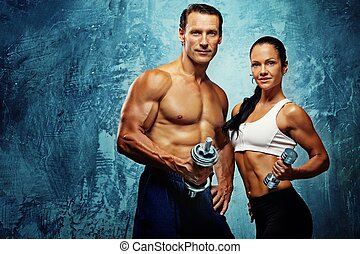 atlético, mujer, dumbells., hombre