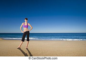 atlético, mujer, en, el, playa