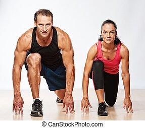 atlético, mujer hombre, ejercicio, condición física