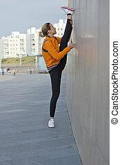 atlético, mujer se estirar, -, dividir