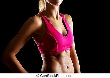 atlético, mulher jovem, ligado, a, ginásio