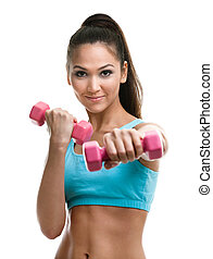 atlético, mulher jovem, trabalhos, saída, com, dumbbells