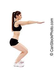 atlético, mulher, squats