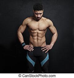 atlético, parede, experiência preta, homem