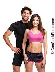 atlético, pareja, después, condición física, blanco, ejercicio