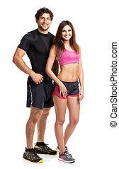 atlético, pareja, después, ejercicio salud, en, el, blanco