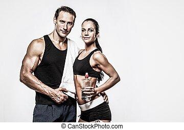 atlético, pareja, después, ejercicio salud