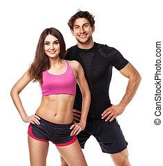 atlético, pareja, -, hombre y mujer, después, ejercicio salud, blanco