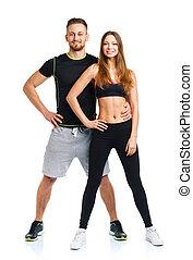 atlético, pareja, -, hombre y mujer, después, ejercicio salud, en, el, wh