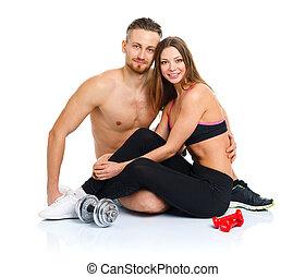 atlético, pareja, -, hombre y mujer, después, ejercicio salud, sentado, w