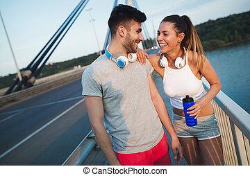 atlético, pareja, jogging, juntos